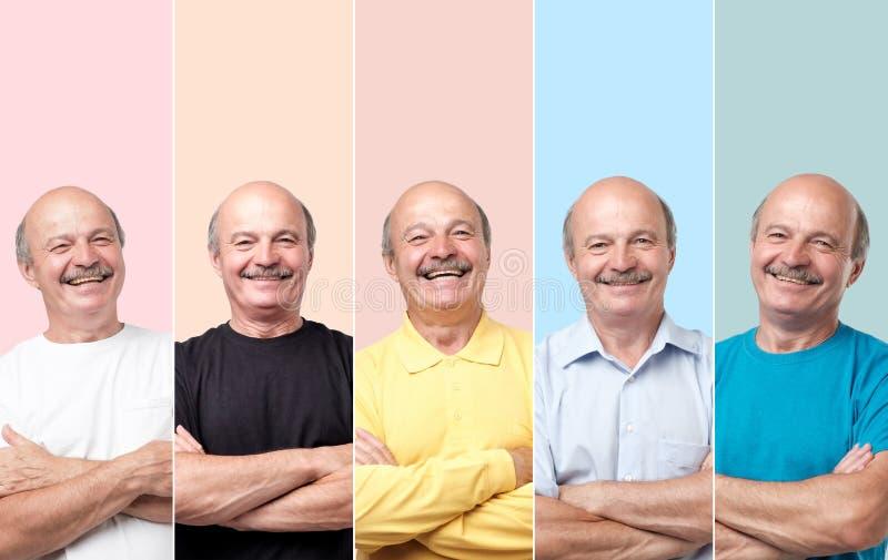 Hogere mens in verschillende kleren die en met glimlach camera lachen bekijken stock afbeelding