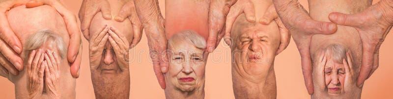 Hogere mensen die de knie met pijn houden collage Concept abstracte pijn en wanhoop stock afbeeldingen