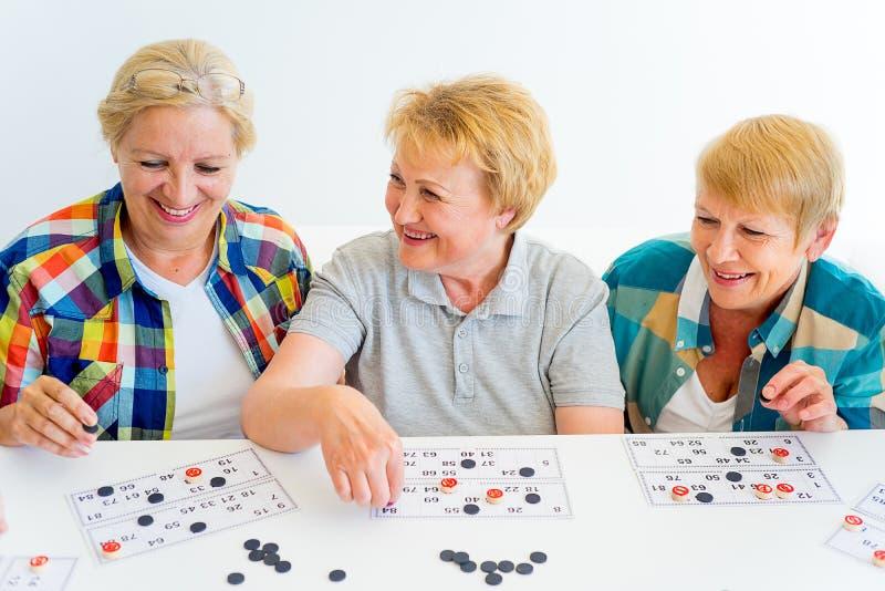 Hogere mensen die raadsspelen spelen stock afbeelding