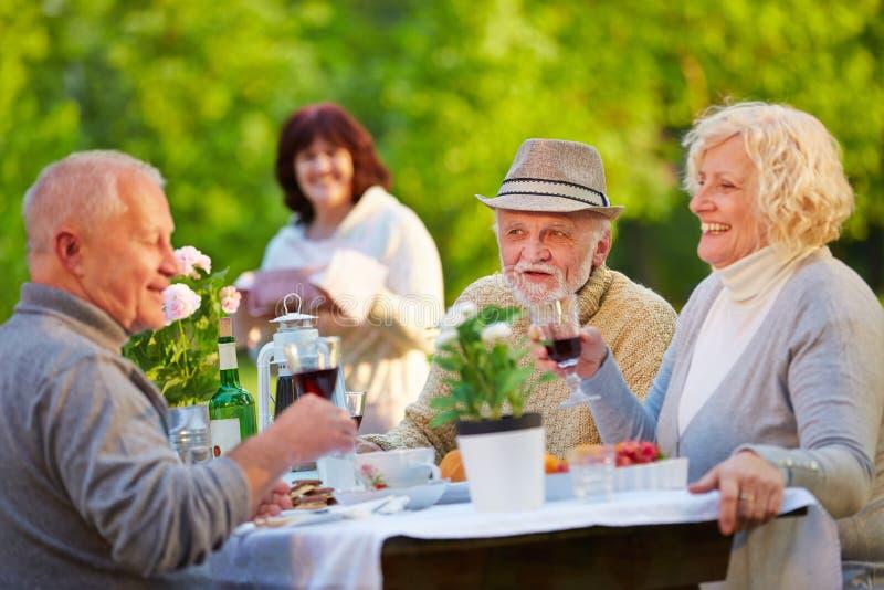 Hogere mensen die verjaardag in tuin vieren stock foto's