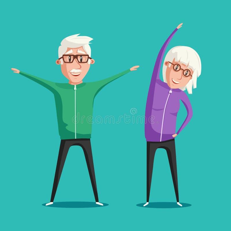 Hogere mensen en gymnastiek De vectorillustratie van het beeldverhaal vector illustratie