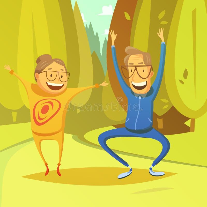 Hogere Mensen en Gymnastiekillustratie vector illustratie