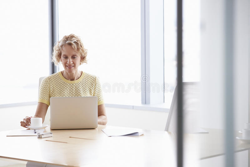Hogere Onderneemster Working On Laptop bij Bestuurskamerlijst stock fotografie