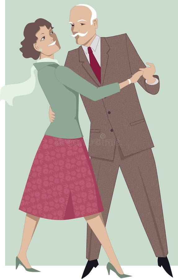 Hogere paar dansende wals vector illustratie