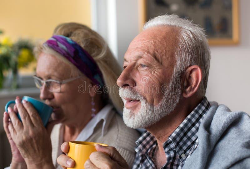 Hogere paar het drinken thee stock fotografie