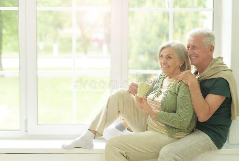 Hogere paar het drinken thee thuis royalty-vrije stock fotografie
