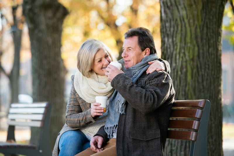 Hogere paarzitting op bank, het drinken koffie De aard van de herfst Lange schaduwen en blauwe hemel stock foto's