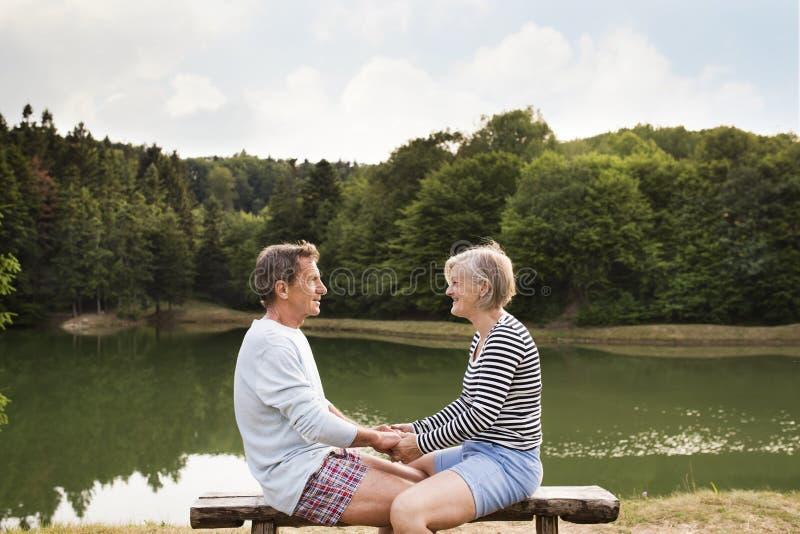 Hogere paarzitting op een bank bij het meer stock foto