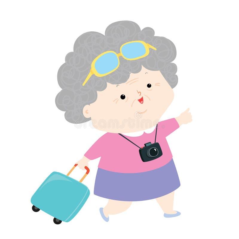Hogere reiziger op vakantievector vector illustratie