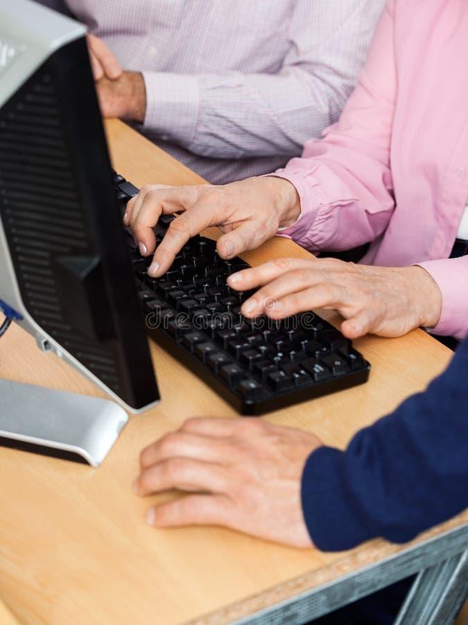 Hogere Studenten en Privé-leraar de Computerklasse van At Desk In stock foto's