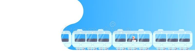 Hogere van de de bedrijfs metroauto van de zakenmanzitting mens die de moderne ondergrondse tram van het stads openbare vervoer g stock illustratie