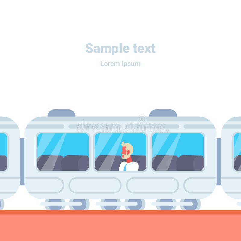 Hogere van de de bedrijfs metroauto van de zakenmanzitting mens die de moderne ondergrondse tram van het stads openbare vervoer g vector illustratie
