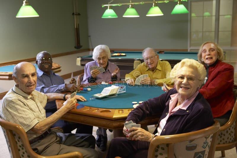 Hogere volwassenen die brug spelen stock fotografie