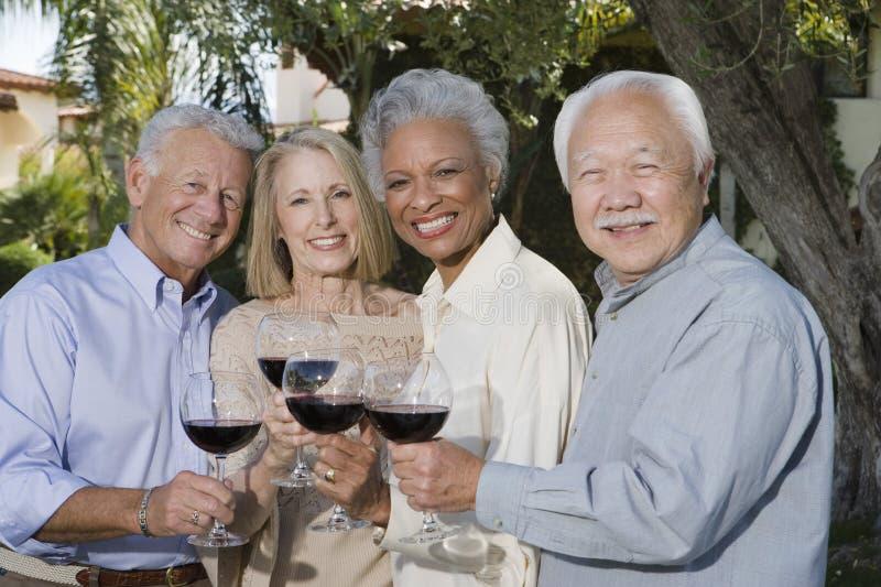 Hogere Vrienden die Wijn roosteren stock foto