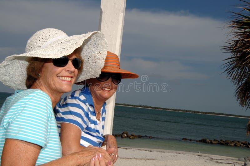 Hogere vrienden tropische vakantie royalty-vrije stock foto
