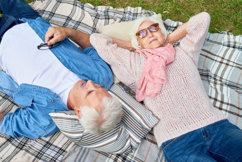 Hogere Vrouw die aan Muziek bij Picknick luisteren stock afbeelding