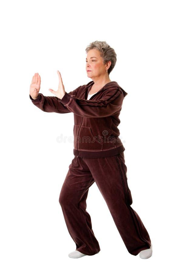 Hogere vrouw die Tai de oefening van de Yoga van de Chi doet royalty-vrije stock afbeelding