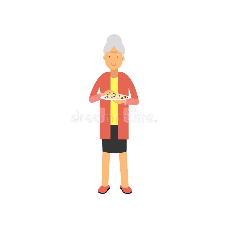 Hogere vrouw die zich met plaat van voedsel, de vrije tijd van gepensioneerdemensen en activiteiten vectorillustratie bevinden stock illustratie