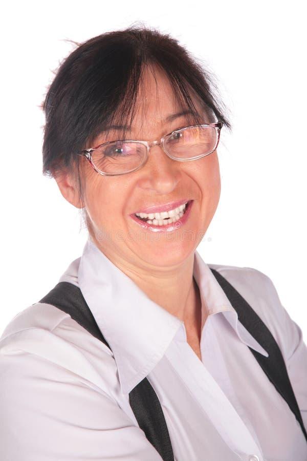 Hogere Vrouw in glazenclose-up stock foto's