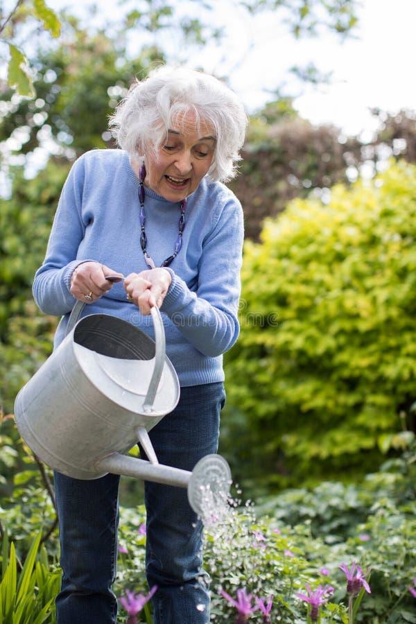 Hogere Vrouw het Water geven Bloemen in Tuin royalty-vrije stock fotografie