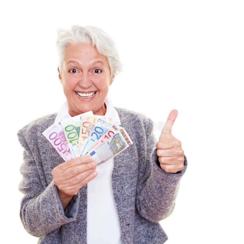 Hogere vrouw met geld royalty-vrije stock afbeeldingen