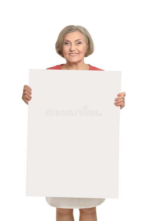 Hogere vrouw met spatie royalty-vrije stock foto