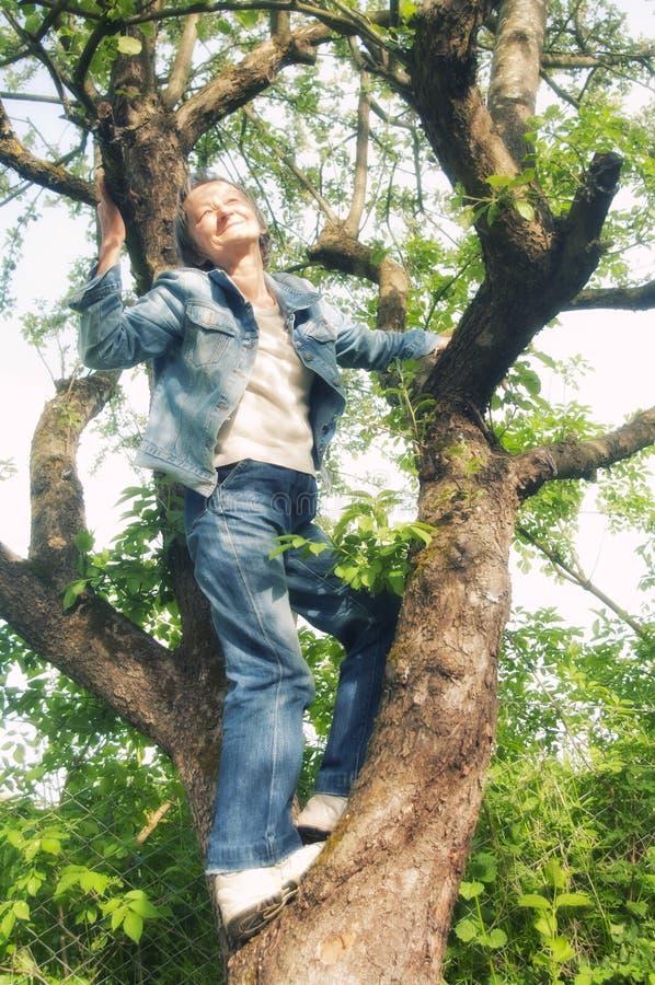 Hogere vrouw omhoog op een boom