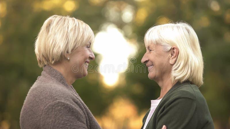 Hogere vrouwelijke vrienden gelukkig om elkaar na vele jaren te zien, vriendschap stock afbeeldingen