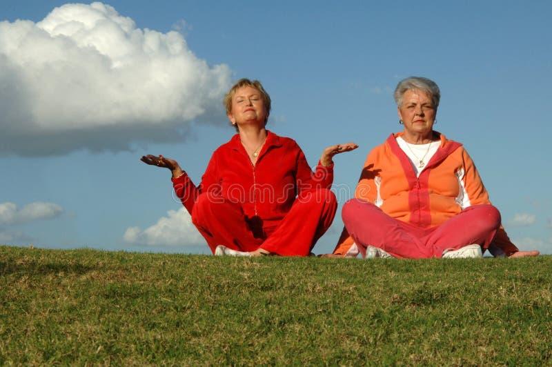 Hogere vrouwenyoga in openlucht stock afbeelding