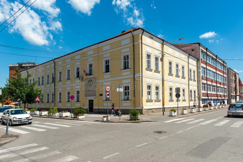 Hogeschool Gimnazija: serbian 'Vuk Karadzic' in Loznica, Servië royalty-vrije stock afbeeldingen