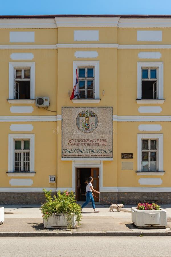 Hogeschool Gimnazija: serbian 'Vuk Karadzic' in Loznica, Servië stock afbeeldingen