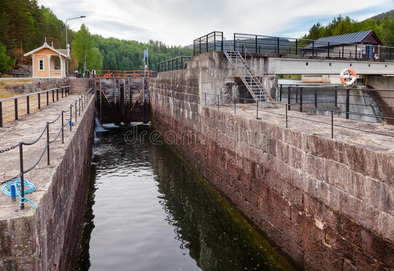 Hogga lock Telemark Canal Telemark Norway. Hogga lock on the Telemark Canal that connects Skien to Dalen in Telemark County, Norway stock photo
