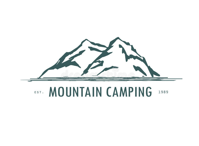Hogo van de berghand hrawn Vectorontwerpelement in uitstekende stijl voor logotype, etiket, markering, kenteken en andere Bergemb vector illustratie