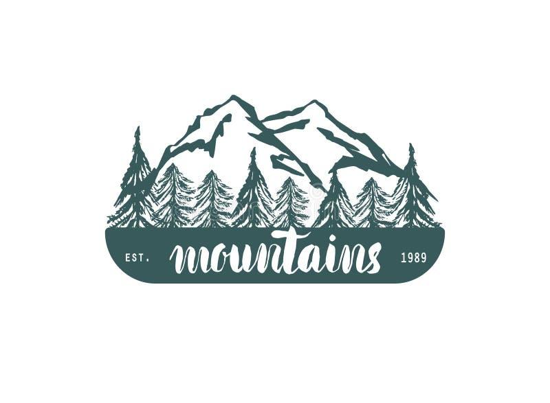 Hogo van de berghand hrawn Vectorontwerpelement in uitstekende stijl voor logotype, etiket, markering, kenteken en andere Bergemb stock illustratie