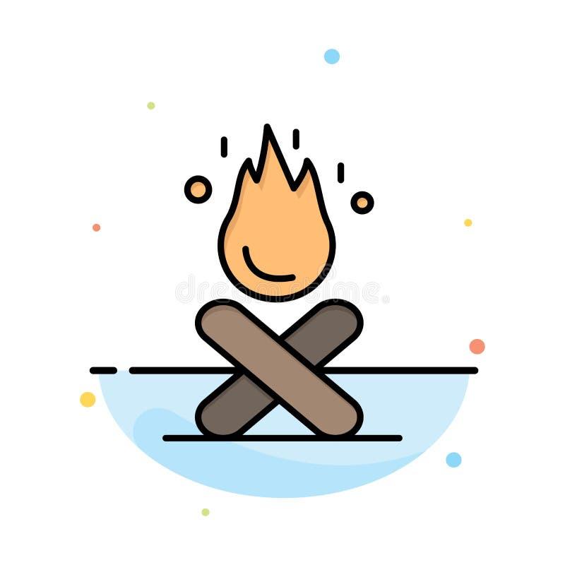 Hoguera, hoguera, acampando, plantilla plana del icono del color del extracto del fuego ilustración del vector