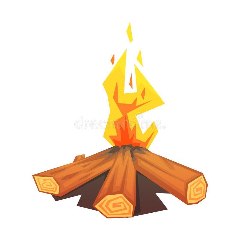 Hoguera ardiente, ejemplo colorido del vector stock de ilustración