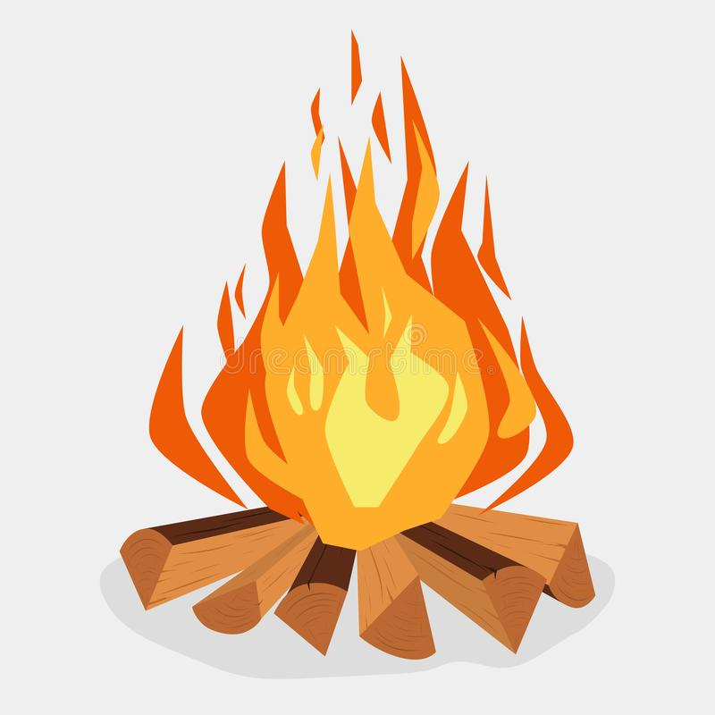 Hoguera - chimenea acampando, de la quema woodpile, hoguera o Vector libre illustration