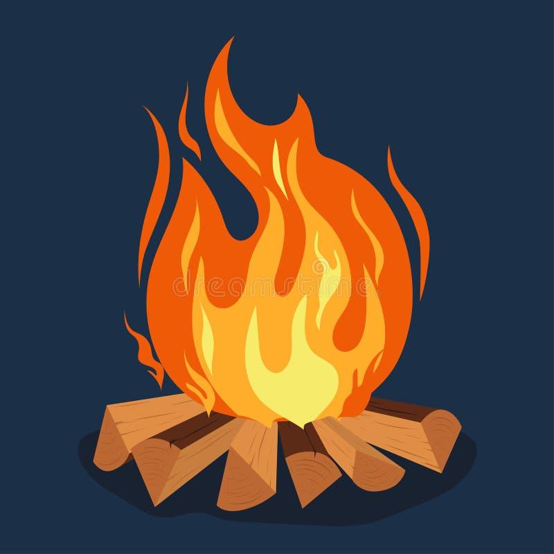 Hoguera - chimenea acampando, de la quema woodpile, hoguera o Vector ilustración del vector