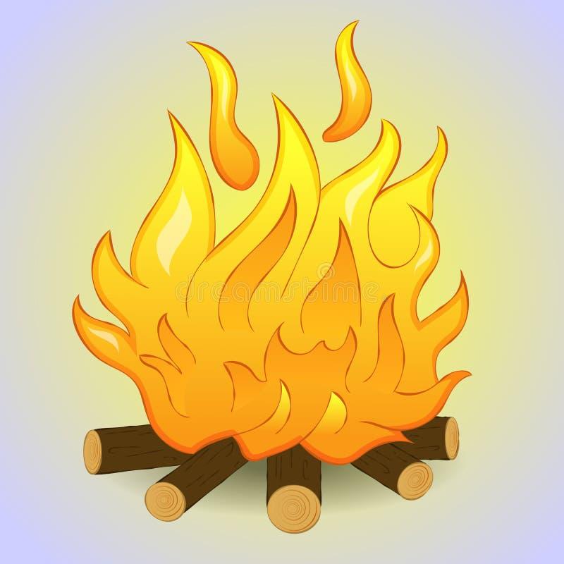 Hoguera con el fuego de madera y de la llama en fondo gris Estilo simple de la historieta Ilustración del vector ilustración del vector