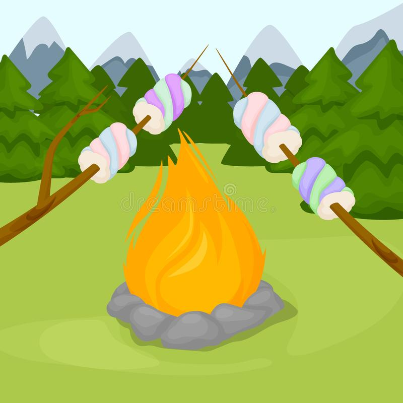 Hoguera con la melcocha - acampando, ejemplo ardiendo del vector del fondo del fuego de la llama del woodpile ilustración del vector