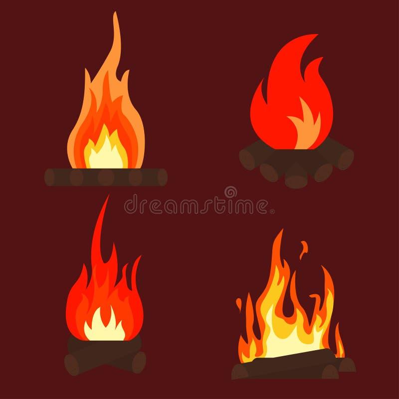 Hoguera del fuego stock de ilustración