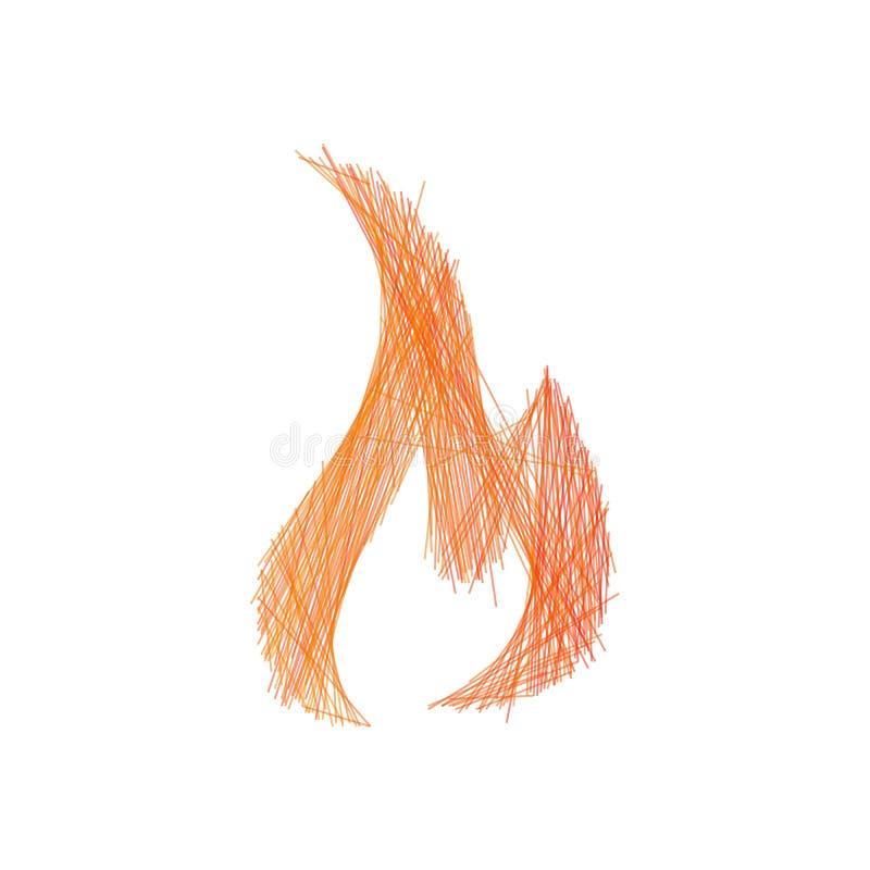 Hoguera exhausta de la llama del fuego de la mano linear, movimiento editable Ilustraci?n del vector aislada en el fondo blanco stock de ilustración