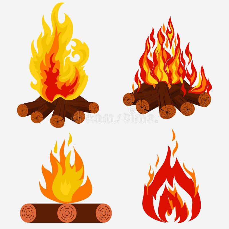 Hoguera fijada - acampando, colección del fuego Woodpile ardiente Vector stock de ilustración