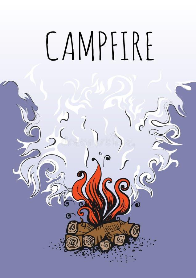 Hoguera, fuego sobre los registros de madera y nube del humo Ilustración del vector ilustración del vector