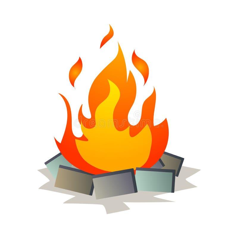 Hoguera grande ardiente caliente de la llama que acampa en la noche ilustración del vector