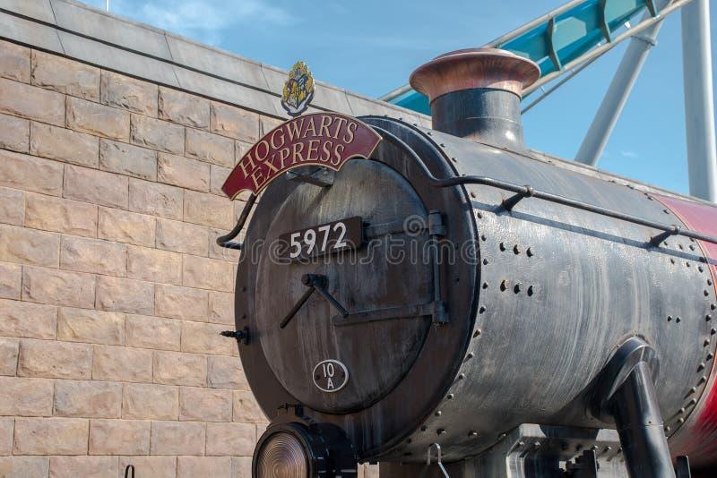 Hogwarts快车环球影业前面  库存图片