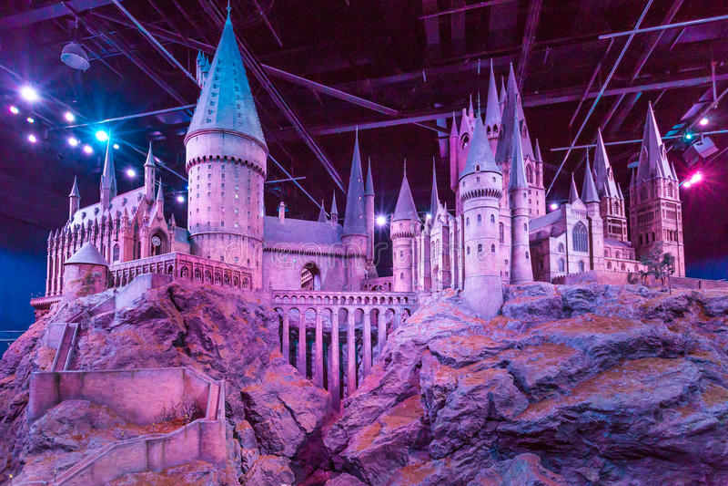Hogwarts模型在华纳兄弟的 演播室游览-做哈利・波特 库存照片