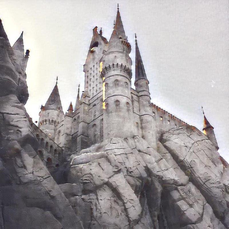 hogwarts 皇族释放例证