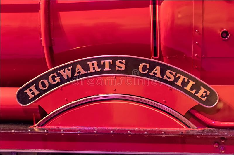 Hogwarts Castle sign on steam train royalty free stock photos