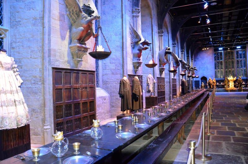 Hogwarts gran pasillo en Warner Bros Studio, Londres fotografía de archivo libre de regalías